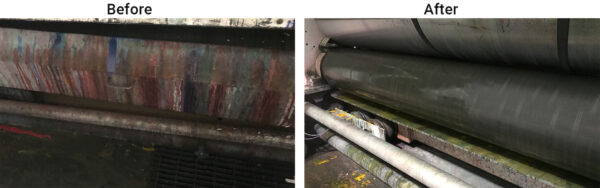 before and after anilox and ink system cleaning from CST Systems