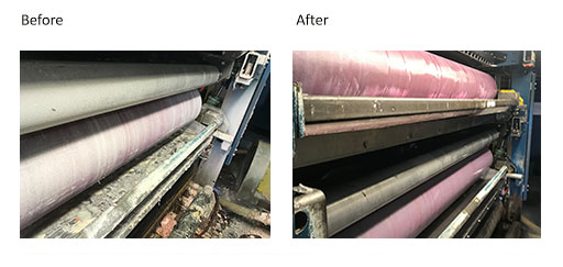 roll condition before and after anilox and ink system cleaning