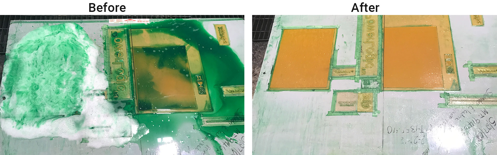 printing blanket before and after system cleaning